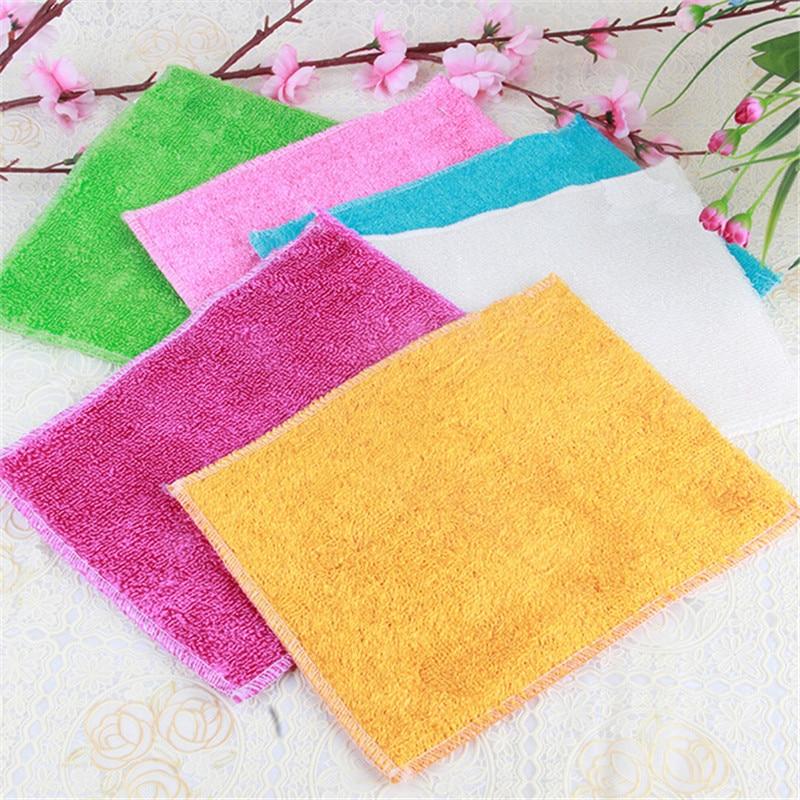 10 pçs nova chegada cozinha cleaner wipping trapos eficiente pano de limpeza de fibra de bambu casa lavar prato pano