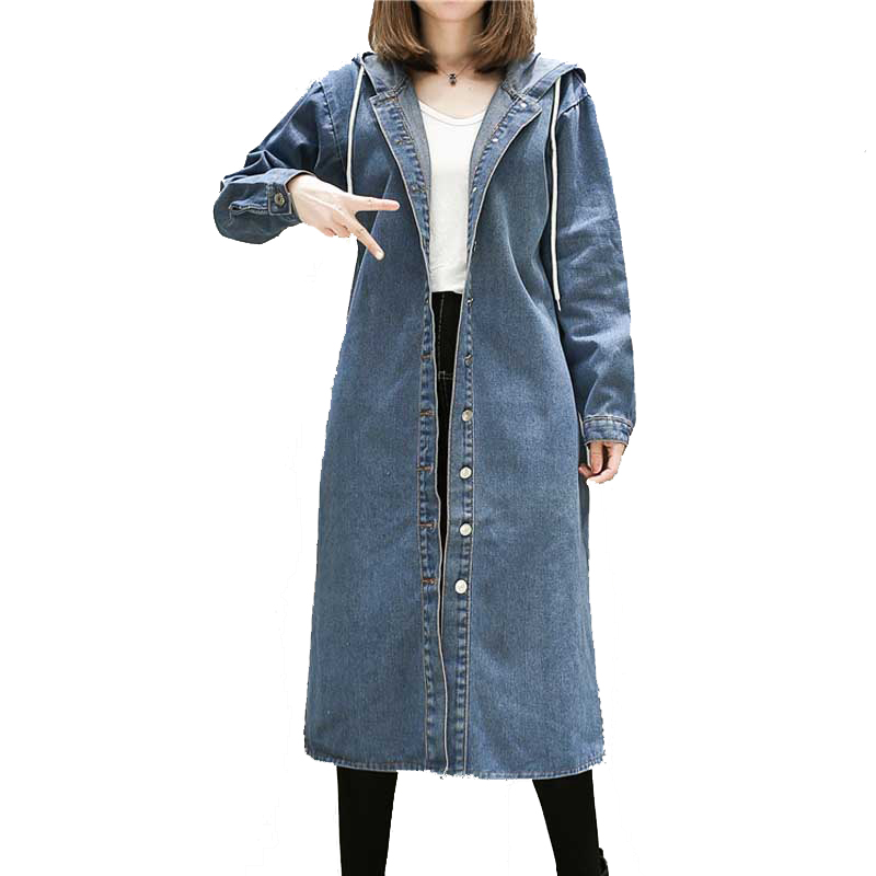 Plus size L-5XL denim   trench   coat for women spring autumn 2019 new casual medium long loose hooded coats windbreaker Female
