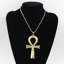 Egyptian Ankh Cross Necklace Jewelry Gold Color Metal Sacrifice Pendant & Chain For Men Women Egypt Charm Gift