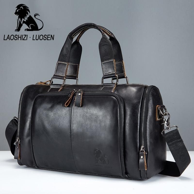 LAOSHIZI LUOSEN sac à main en cuir véritable hommes sacs de voyage grande capacité grand polochon bagage en cuir sac de voyage sac de week-end