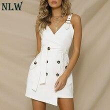 NLW Botão Belt Tie Vestido de Blazer Cáqui Curta Strapless Sólido Branco Sexy Vestidos de Festa Bodycon Vestido Vestidos