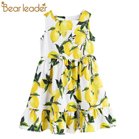 Bear Leader Girls Dress 2017 New Girls Dress European And American Style Lemon Print Brand Baby