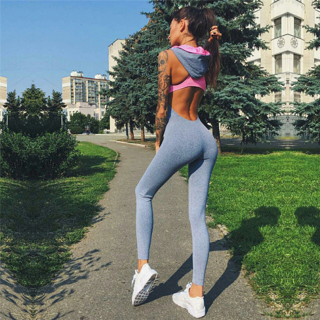 One Piece Women Tights Push Up Breathable Fitness Bodysuit