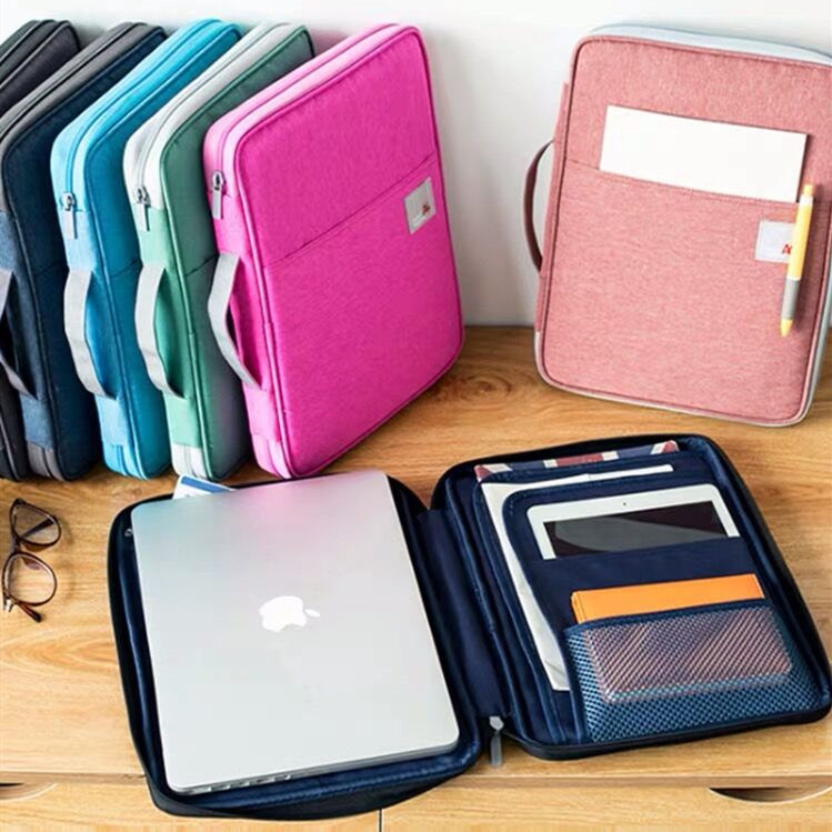Multifunctional Waterproof A4 Document Storage Bag Desk Fille Folder Organizer Case Business Laptop Zipper Bag For Men Women