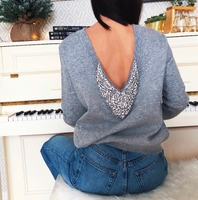 2019 Luxury diamond beading cashmere woolen Sweater female deep V neck Crystals Beading Knitwear Sweaters Pullover tops wq906