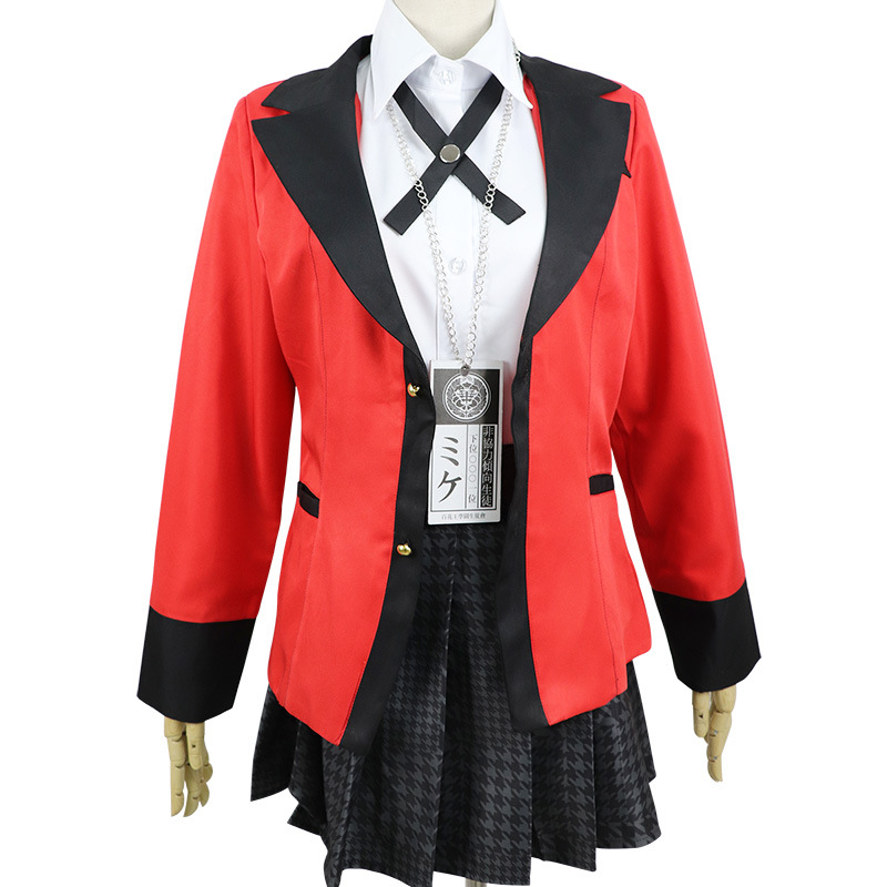 Anime Kakegurui Yumeko Jabami Cosplay Costumes Japanese School Girls Uniform Full Set jacket+shirt+skirt+stockings+tie In Stock