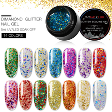 T-TIAO CLUB 5ml Holographic Glitter Nail Gel Polish Shiny Laser Sequins  Art Lacquer Soak Off UV 16 colors
