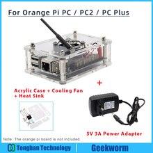 Naranja Pi PC / PC2 / PC Plus carcasa de acrílico + 5V 3A adaptador de corriente de la UE + ventilador de refrigeración + Kit de inicio de disipador de calor kit naranja Pi