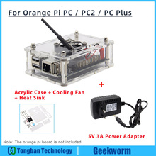 Orange Pi PC / PC2 / PC Plus Acrylic Case + 5V 3A EU Power Adapter + Cooling Fan + Heat Sink Start Kit Orange Pi kit