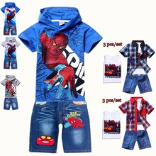 Summer kids 2016 cartoon baby hoodies jeans suit spider man 3 pcs set children's clothing blue grey T-shirt boy pants