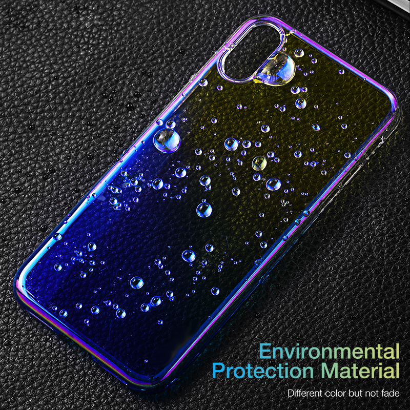 Luxury Plating Phone Case for iPhone 8 8plus 7 7plus XS X XR XRMAX hard pc high end back cover color gradient Siedery in Fitted Cases from Cellphones Telecommunications