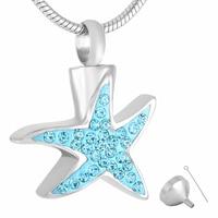 MJD9295 Fashion Women Starfish Shape Blue Crystal Urn Necklace Jewelry KEEPSAKES