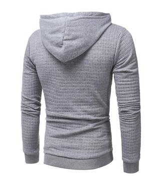 Men Solid Color Hooded Sweatshirt 1
