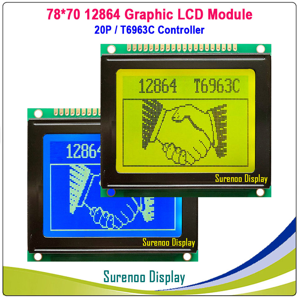 78X70MM 12864 128*64 Graphic Matrix LCD Module Display Screen LCM With T6963C/RA6963 Controller In Industry Grade