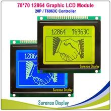 78x70mm 12864 128*64 tela de exibição do módulo lcd da matriz gráfica lcm com controlador t6963c/ra6963 na categoria da indústria