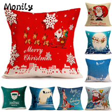 Monily Linen Pillow Case Cartoon Christmas Santa Claus Snowflake Cushion Cover Decorative Throw Sofa