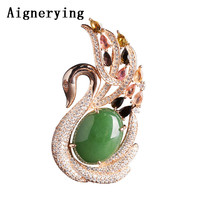 Vintage 18k Rose Gold Certificate Green inlaid Natural Jade Goose Pendant Necklaces for Women Necklace Bijou Gift Box