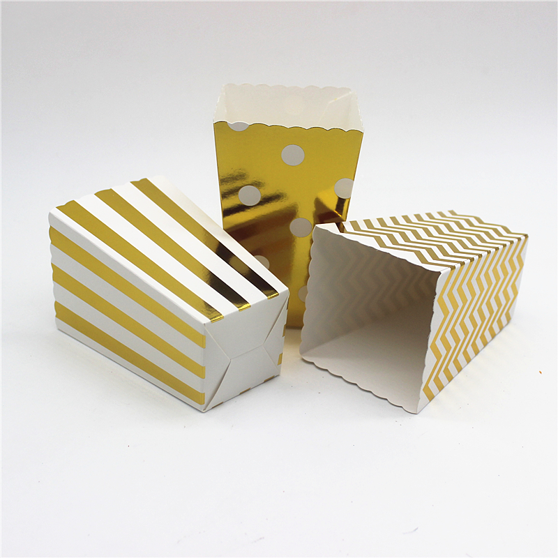 12pcs/lot Gold/Silver Metallic Mini Party Paper Food Grade Popcorn Boxes Sanck Favor Bags Wedding Birthday Movie Party Supplies