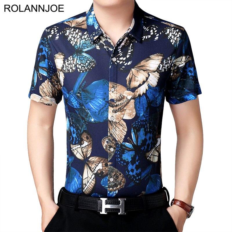 Rnj Camisas Hawaianas De Impresión De Mariposa De Ilusión