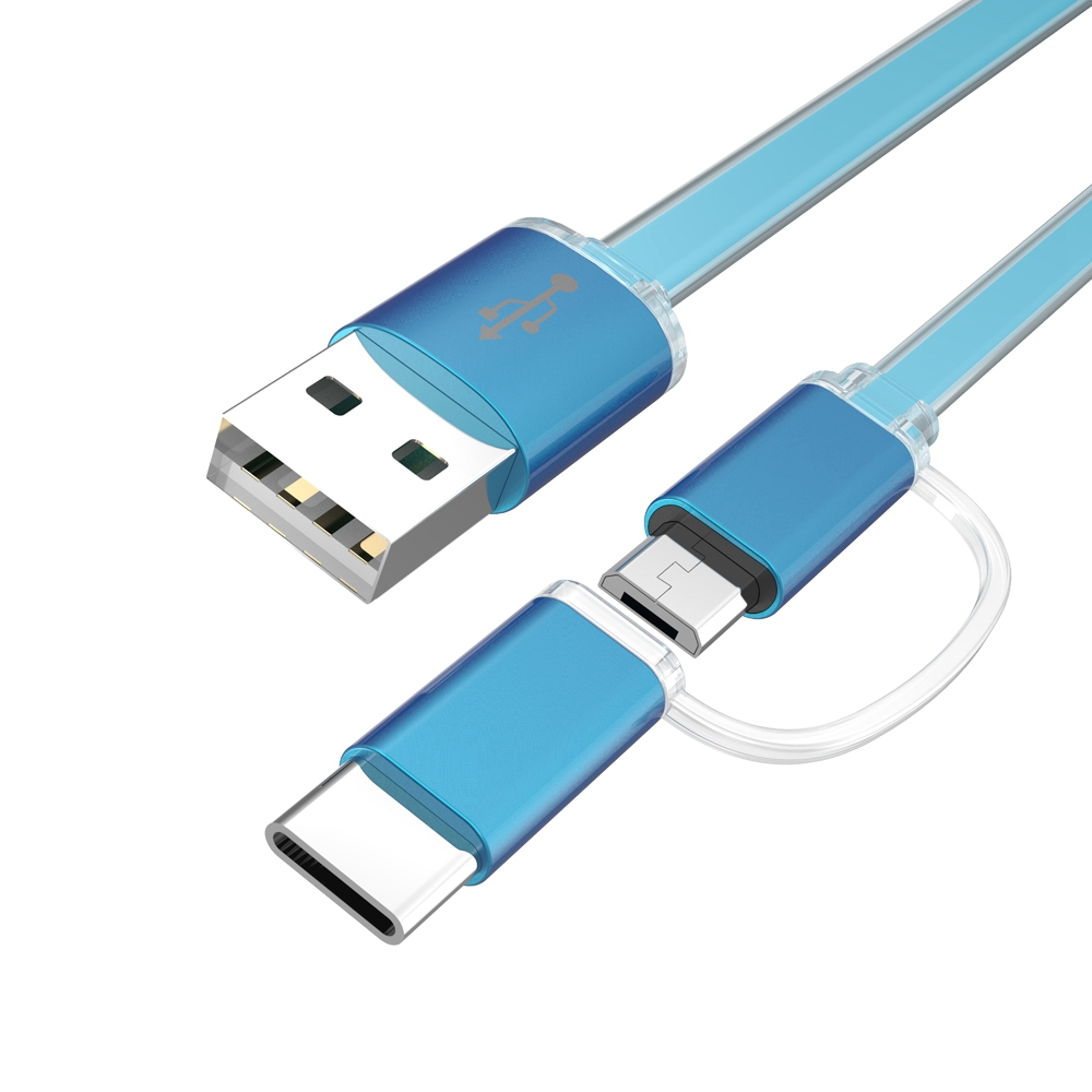 2 in 1 micro usb cable 1m type c cable charging mobile
