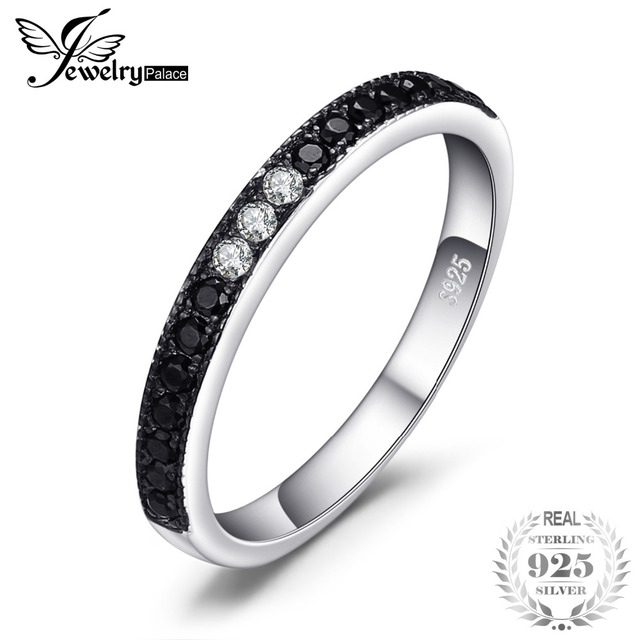 JewelryPalace Classic 0.25ct Natural Black Spinel Channle Set Ring Genuine 925 S