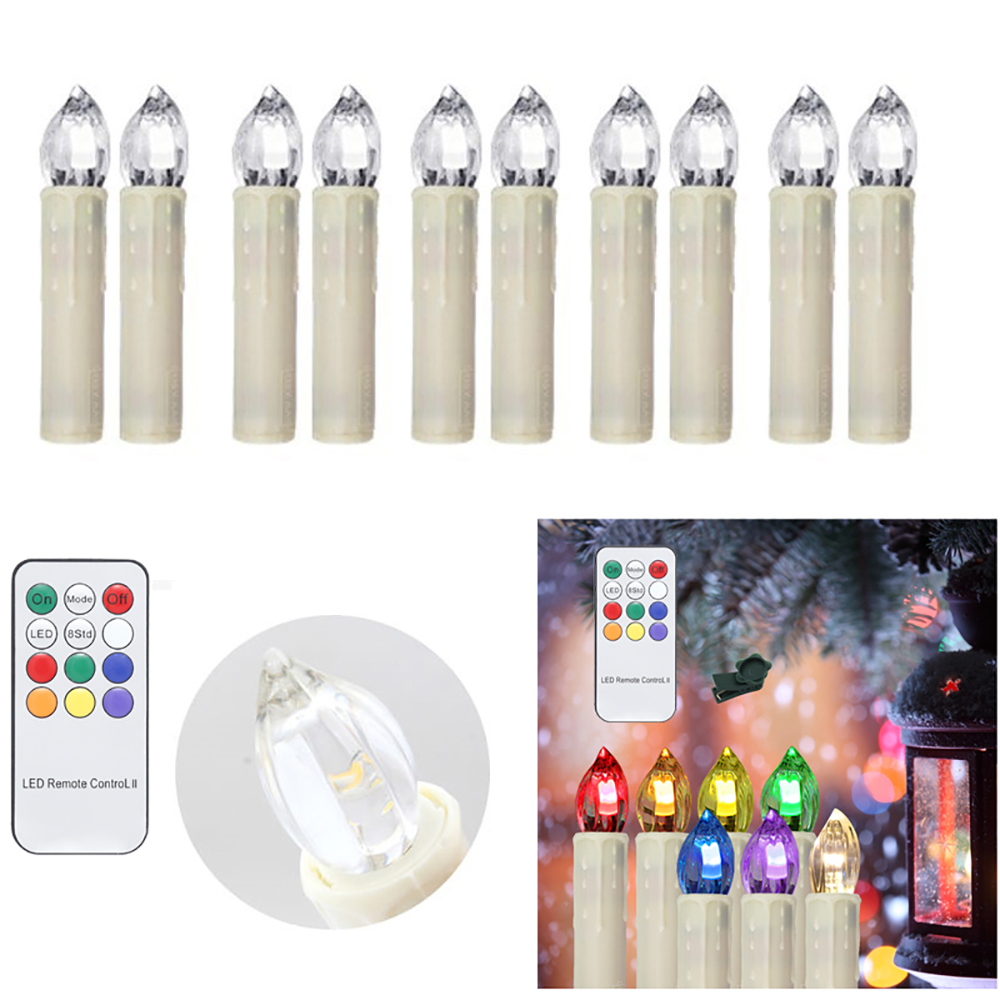100pcs LED Candle flameless Decorative Light Dimmable Fairy tale lighting Indoor Outdoor Christmas Tree Party Remote Control