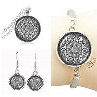 African Costume Jewelry Set Glass Dome Mandala Choker Indian Necklace Meditation Namaste Om Jewerly Silver Chain