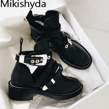 Punk Booties Buckle Straps Thick Heel Black Tobillera Mujer Cut Out Woman Boot Motorcycle Brand Designers Round Toe Summer Shoes