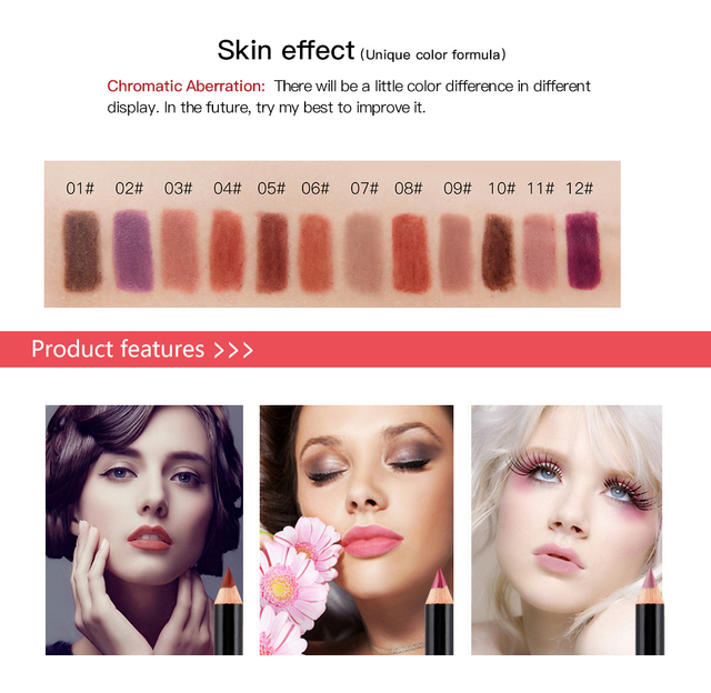 12 Colors  Matte Lip Liner pen use with lipstick Long Lasting Pigments Waterproof no blooming beauty Makeup color optional TSLM1 1