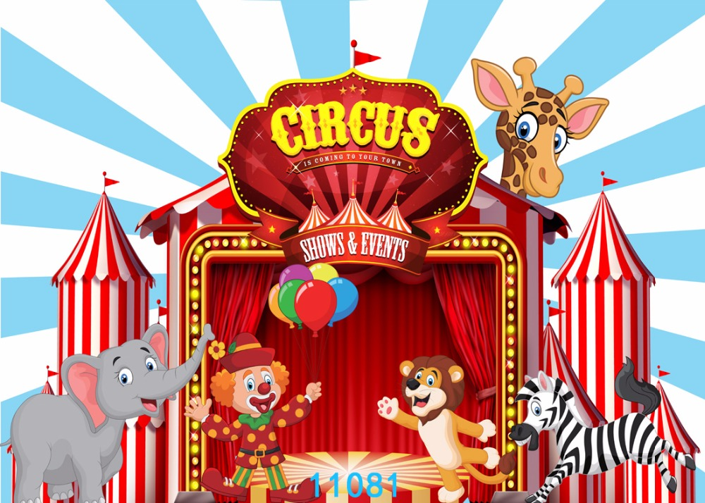 SJOLOON Photography backdrop circus birthday cartoon party ...