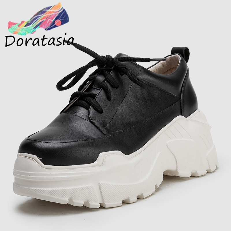 DORATASIA 2019 Spring New Genuine Cow Leather Sneakers Women Black Thick Platform Shoes Woman lace up High Wide Shoes