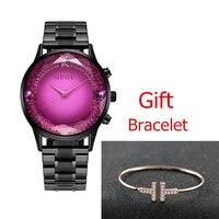 GUOU Big Dial Female Watch 2018 Luxury Brand Rose Gold Women Bracelet Watch Fashion Dress Ladies