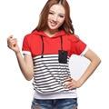 Women Autumn Sweatshirt Casual Patchwork Striped Hoodies Short Sleeve Female Pullover Tops Women's Clothings S-4XL Szie