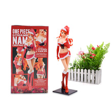 One Piece Figure Glamours Nami Christmas Style Red PVC One Piece Action Figure Collectible Model Christmas Gift Toys 25 cm one piece action figure nami kimono pvc figure 21cm one piece nami sexy gold kimono model toy figurine one piece nami doll