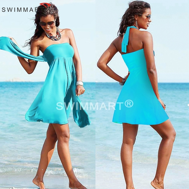 Swimwear Vestidos Pleated Dress Multi Wear Colors Women Sexy Bathing Suit Off Shoulder Strapless Beach Dress Swimsuit Cover Ups