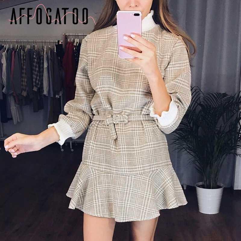 Afogatoo элегантное клетчатое платье с рюшами, женское винтажное Трикотажное короткое платье с высоким воротом, женское осеннее офисное платье с поясом