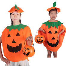 2018 New Halloween Costume Hat Pumpkin Family Matching Outfits Adult Kids Pumpkin Cosplay Party Halloween Clothes(China)