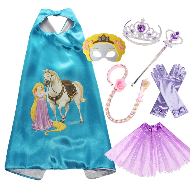 Rapunzel Costume Cape Mask Tutu Tiara Wand Glove Braid for Girls Halloween Costume for Kids Party