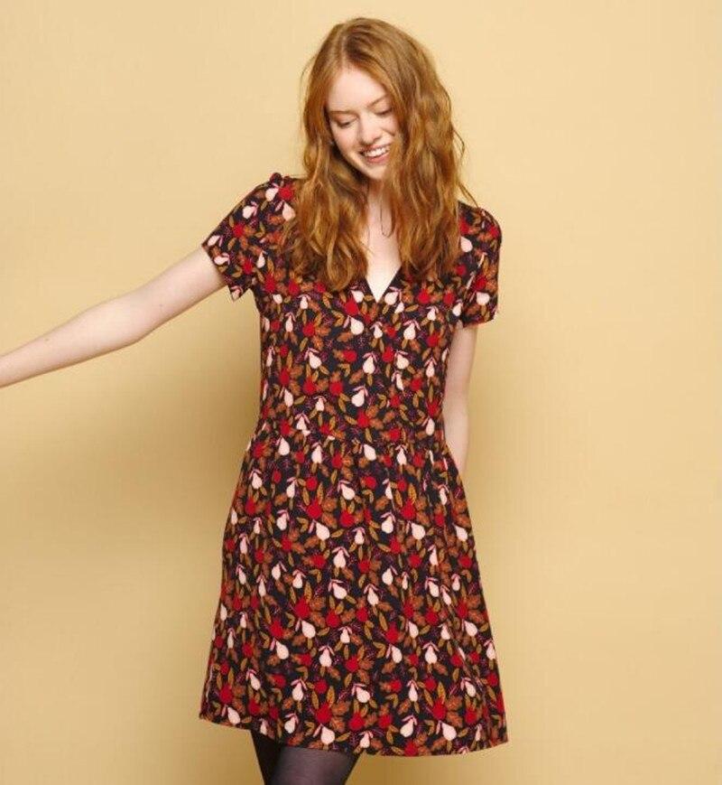 2019 Nouvelle robe pour femme Grenade et Poire Impression courtes manches V Cou Lâche robe adorable