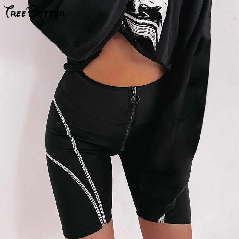 Black Zipper Striped Cycling Women Sport Shorts 2018 Training Exercise Activewear Fitness Biker Shorts