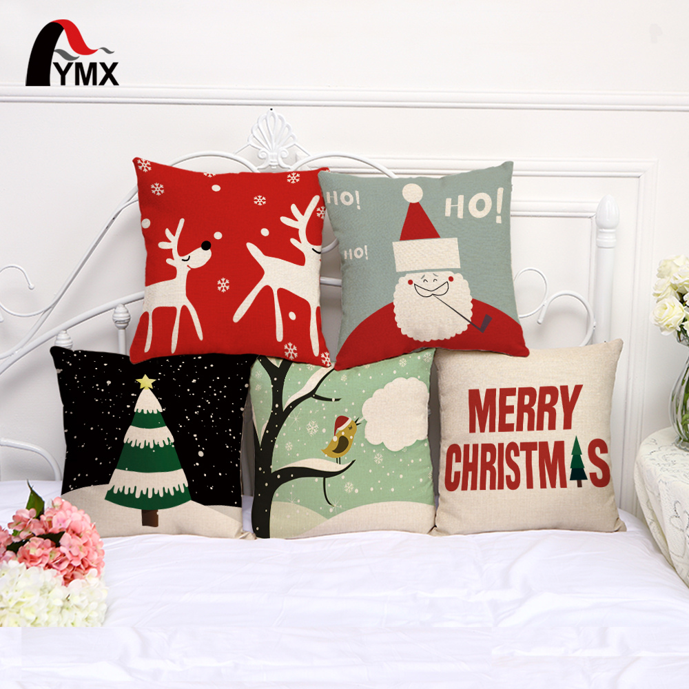 Christmas Xmas Linen Cushion Cover Throw Pillow Case Home: Christmas Style Cotton Linen Cushion Cover Elk Santa