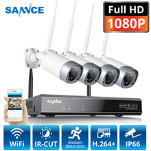 SANNCE 1080P 8CH كاميرا أمان لاسلكية نظام 4 قطعة 2MP مانعة لتسرب الماء في الأماكن المغلقة في الهواء الطلق واي فاي كاميرات معدنية واي فاي طقم الدوائر التلفزيونية المغلقة