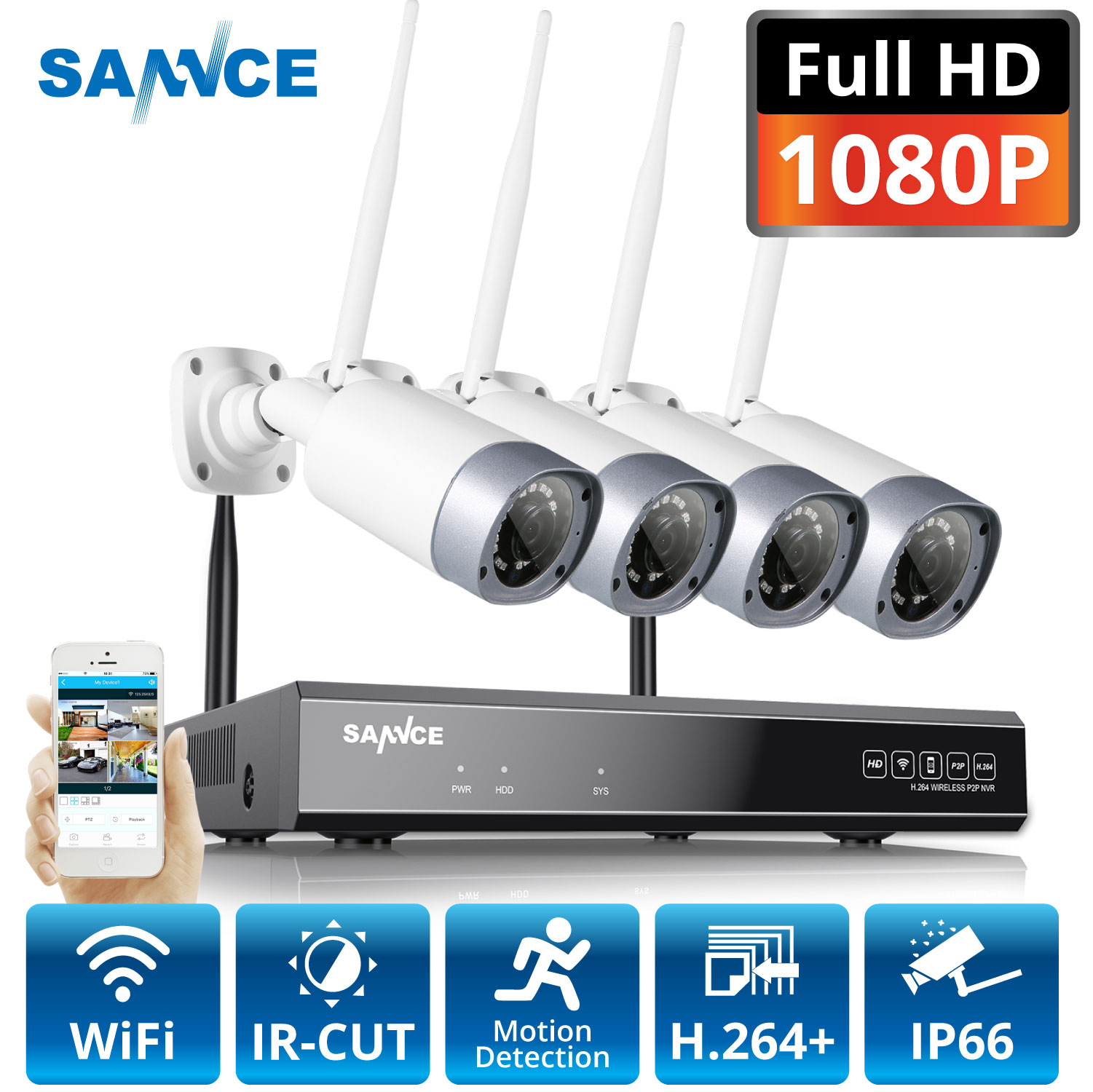 SANNCE 1080P 8CH Wireless Security Camera System 4PCS 2MP Weatherproof Indoor Outdoor Wifi Cameras Metal Wi fi CCTV Kit-in Surveillance System from Security & Protection