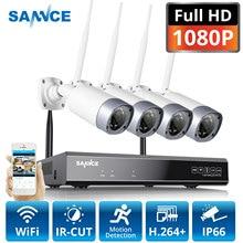SANNCE 1080P 8CH Wireless Security Kamera System 4PCS 2MP Wetterfest Indoor Outdoor Wifi Kameras Metall Wi fi CCTV Kit