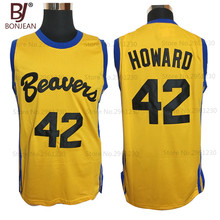 BONJEAN Movies Of Michael J Fox Teen Wolf Jersey #42 Howard Beavers Movie Basketball Jerseys Yellow Stitched Mens Shirts