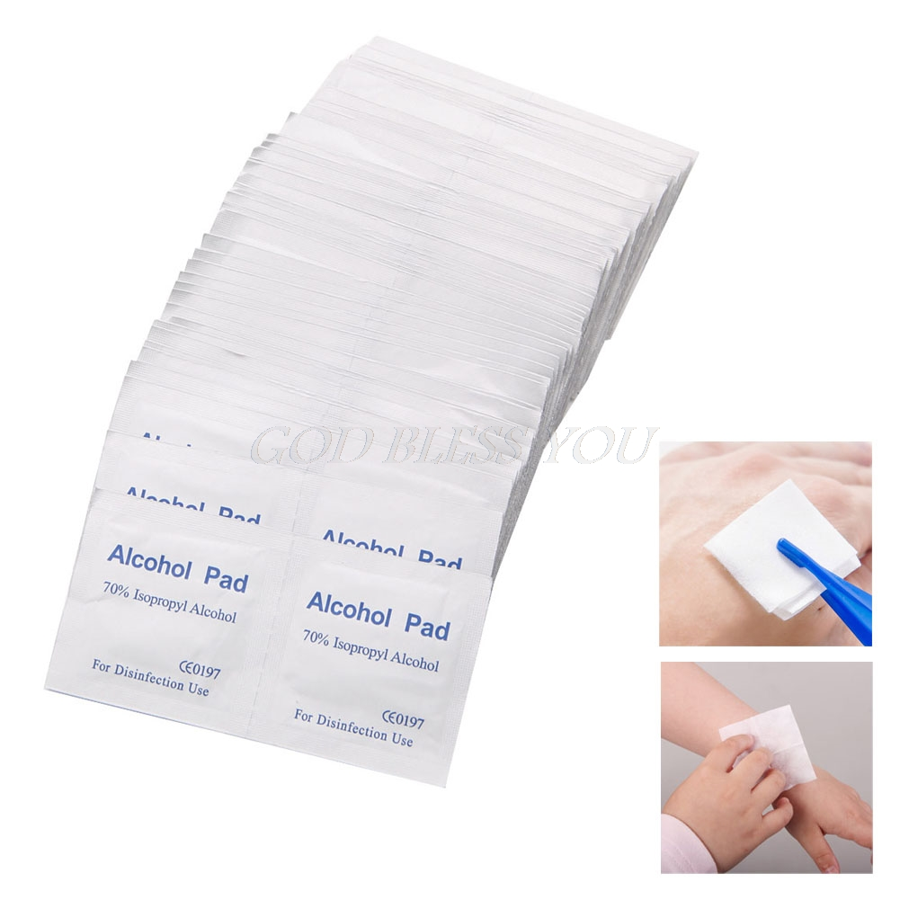 100 Pcs/Box Alcohol Wipe Pad Medical Swab Sachet Antibacterial Tool Cleanser