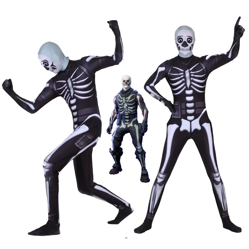 Hot Game High Quality Skull Trooper Cosplay Costumes Zentai Adult Kids Bodysuit Jumpsuits Halloween Party Suits