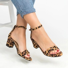 New leopard high heels women sandals gladiator ladies summer block heel open toe shoes yellow red sandals big size zapatos mujer цены онлайн