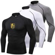 1a222aa4ffe Hot Vegas Golden Knights Running Shirt Men Long Sleeve Fitness Sportswear  Turtleneck Sport Shirt Compression Gym Shirt Rashgard