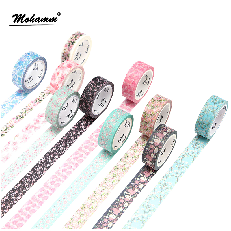 Cute Romantic Cherry Blossoms Decorative Adhesive Tape Washi Tape Masking Tape School Office Supply Sticker Label Stationery aagu 1pc 8mm 7m label stationery red black dot stripe washi tape decorative masking tape lovely high viscosity paper sticker